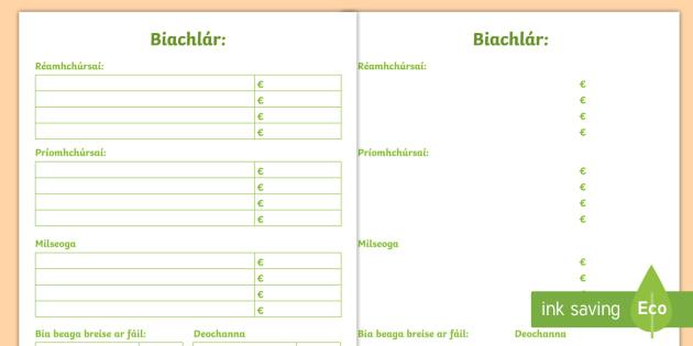 Biachlár Blank Writing Template Gaeilge   Biachlár, Bia, Template, Blank,  Bialann,  Blank Writing Template