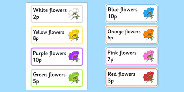 Garden Centre Labels - Flowers - Display, garden centre, plants, plant, topic, flower, price, price labels, for sale