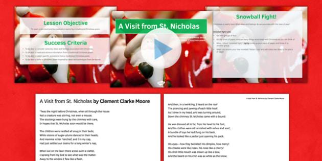 A Visit From St Nicholas Lesson Pack - visit, st nicholas, lesson pack, lesson, pack, christmas