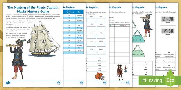 LKS2 The Mystery of the Pirate Captain Maths Mystery Game