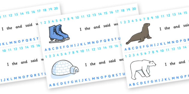 Combined Alphabet and Number Strips (Winter) - Winter, Alphabet, Numbers, Writing aid, skis, ice skates, polar bear, whale, penguin, huskey, snow, winter, frost, cold, ice, hat, gloves