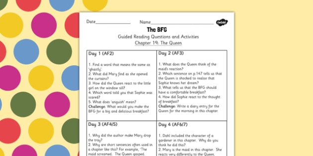 Guided Reading Questions Chapter 19 to Support Teaching on The BFG - Reading, Questions, BFG