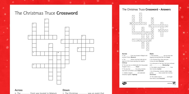the christmas truce 1914 crossword - Christmas Crossword Answers