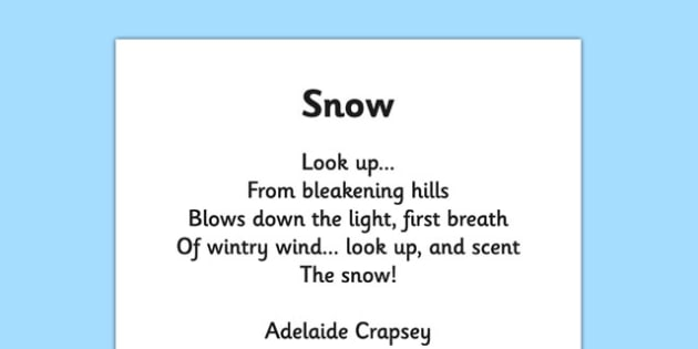 Snow by Adelaide Crapsey Cinquain Poem Print Out -  snow, adelaide crapsey, cinquain, poem, print out