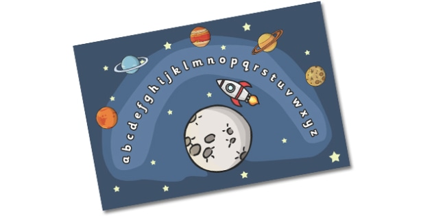Space Alphabet Arc (Phase 1) - Alphabet Arc, space, mat, DfES Letters and Sounds, Letters and sounds, Letters A-Z, Learning Letters, Phase one, Phase 1 Foundation Letters