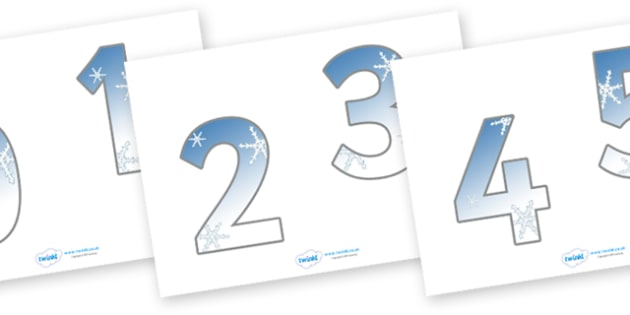 0-20 Display Numbers (Snowflakes) - 0-20, numeracy, Number recognition, Number display, counting, number frieze, Display numbers, number posters