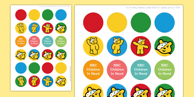BBC Children in Need Pudsey Stickers