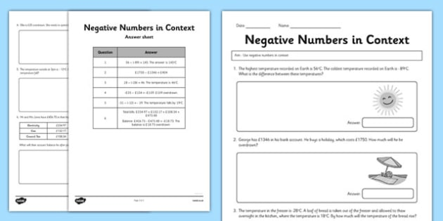 Year 6 Use Negative Numbers In Context Worksheet Activity