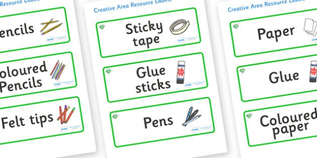 Emerald Themed Editable Creative Area Resource Labels - Themed creative resource labels, Label template, Resource Label, Name Labels, Editable Labels, Drawer Labels, KS1 Labels, Foundation Labels, Foundation Stage Labels