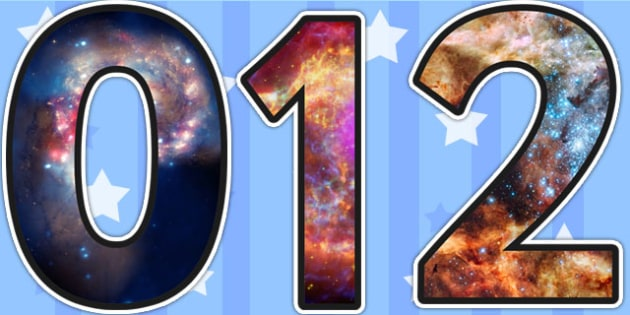 Space Themed A4 Photo Display Numbers - space, numbers, photo