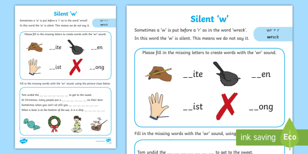 Words With A Silent 'W'   Worksheet teacher made