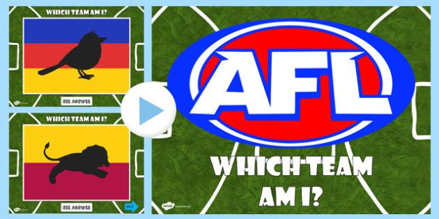 AFL Australian Football League Which Team Am I PowerPoint