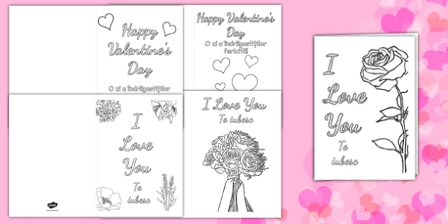 Valentines Day Card Colouring Templates Romanian Translation