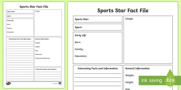 Sport Star Fact File Writing Template  Sport Star Fact File
