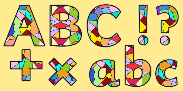 Stained Glass Window Display Lettering Lowercase - letters, RE