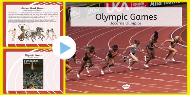 Olympics Information PowerPoint Romanian Translation - romanian, Brazil, Rio 2016, Modern, Ancient Greek, Olympic Rings, Olympic Torch