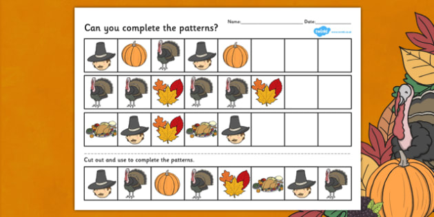 Thanksgiving Complete the Pattern Worksheet - Thanksgiving