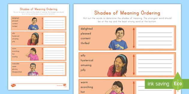 Shades of Meaning Worksheet / Worksheet - Vocabulary ...
