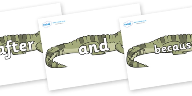Connectives on Crocodiles - Connectives, VCOP, connective resources, connectives display words, connective displays
