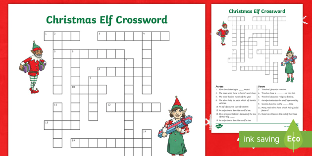 image regarding Holiday Crossword Puzzles Printable identified as KS2 Xmas Elf Crossword Worksheet / Worksheet