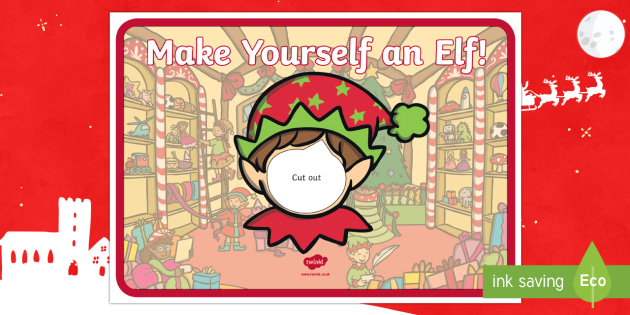 black and white elf yourself face template