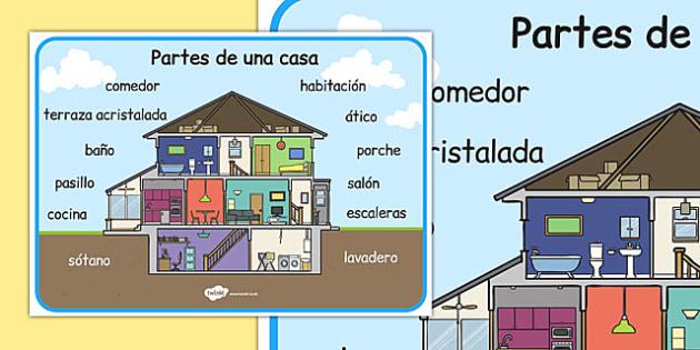 Partes de una casa Word Mat Spanish - spanish, parts, house, word mats, parts of a house