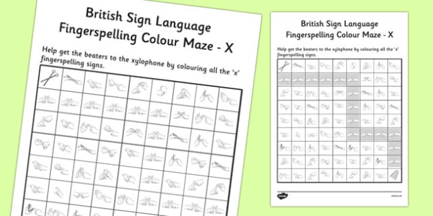 British Sign Language Left Handed Fingerspelling Colour Maze X