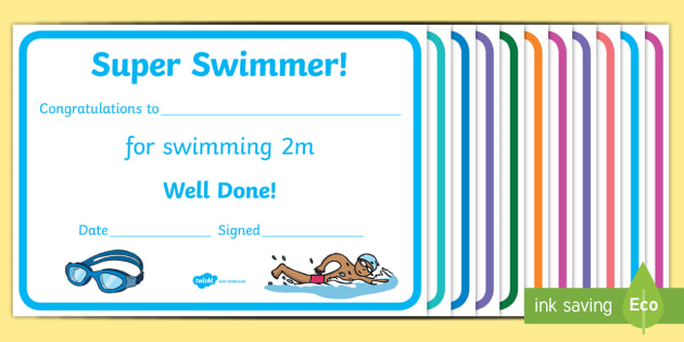 30 free swimming certificate templates: printable word documents.