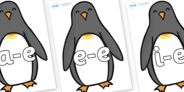 Modifying E Letters on Penguins - Modifying E, letters, modify, Phase 5, Phase five, alternative spellings for phonemes, DfES letters and Sounds