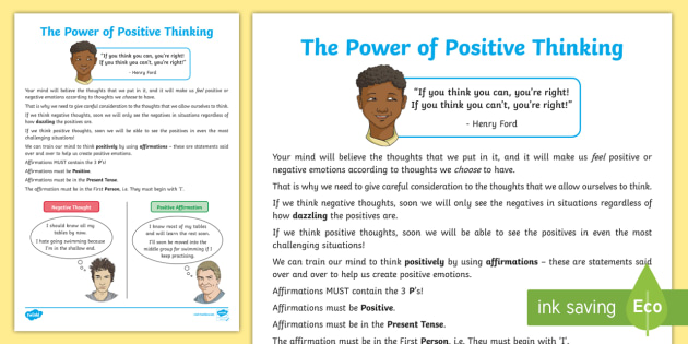 The Power Of Positive Thinking Worksheet Worksheet Pshe Positivity
