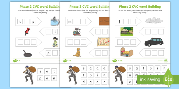 phase 2 cvc word building differentiated worksheets dfe letters and sounds. Black Bedroom Furniture Sets. Home Design Ideas