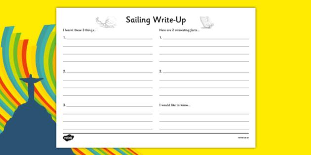 Rio 2016 Olympics Sailing Write Up Worksheet - rio 2016, rio olympics, 2016 olympics, sailing, write up