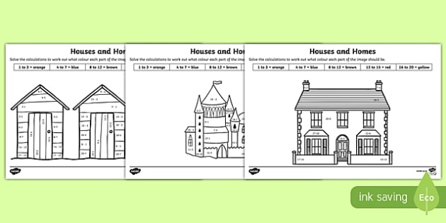 Houses and Homes Subtraction to 20 Colour by Number