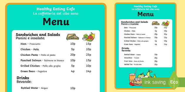 Healthy Eating Cafe Role Play Menu EnglishItalian  Healthy