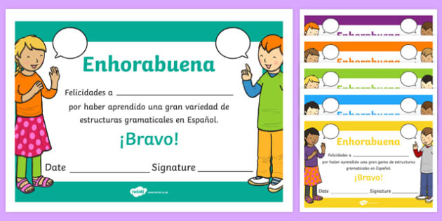 Spanish End of Year Grammar Award Certificate