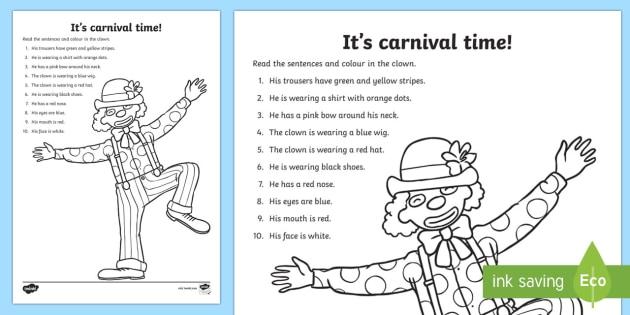 Faschingclown Arbeitsblatt: Lesen und Malen - Carnival