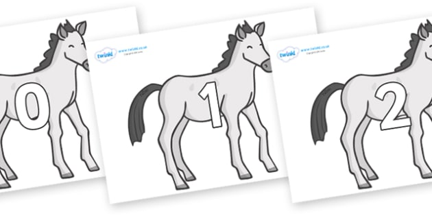 Numbers 0-50 on Ponies - 0-50, foundation stage numeracy, Number recognition, Number flashcards, counting, number frieze, Display numbers, number posters