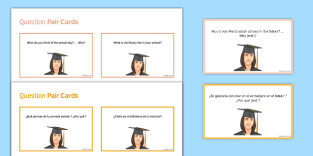General Conversation Education Post 16 Question Pair Cards Spanish