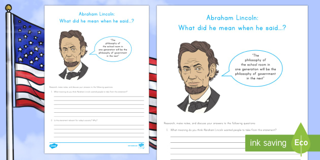 Abraham Lincoln: What did he mean? Research and Discussion Activity Sheet - American Presidents, American History, Social Studies, Barack Obama, Lyndon B. Johnson, Franklin D.