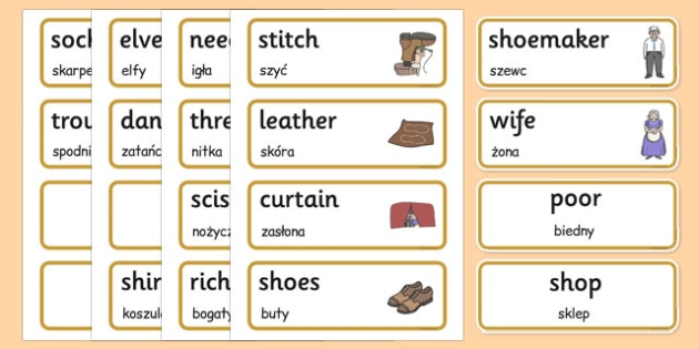 The Elves and the Shoemaker Word Cards Polish Translation - polish, elves, shoemaker, word cards