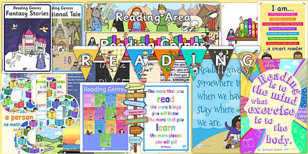 Reading Corner Area Display Pack KS1 - reading corner, area, display