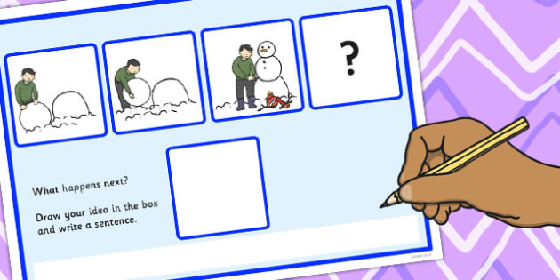 What Happens Next? Fill in the Blank Worksheet for 'Making a Snowman' - snowman, happens, next