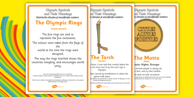 The Olympics Symbols And Their Meanings Display Posters Romanian
