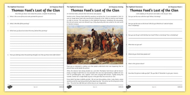 Highland Clearances Art Response Activity Pack - highland clearances, cfe, curriculum for excellence, scotland, history, geography, ks2, literacy
