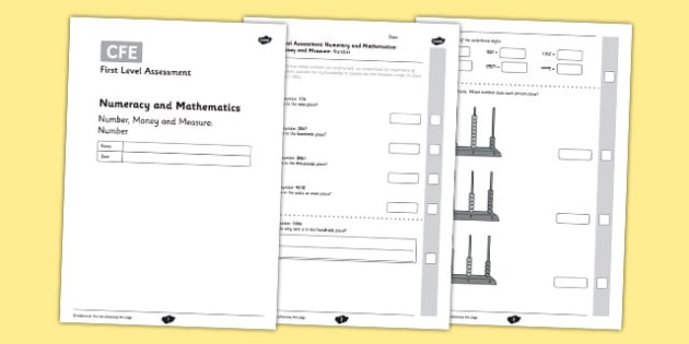 First Level Assessment - Number, Money and Measure: Number - CfE, numeracy, place value, number, assessment
