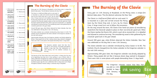 The Burning of the Clavie Differentiated Reading Comprehension Activity-Scottish - CfE, calendar events, Scotland, Scottish, traditions, history, celebrations, Burghead, Moray, new ye