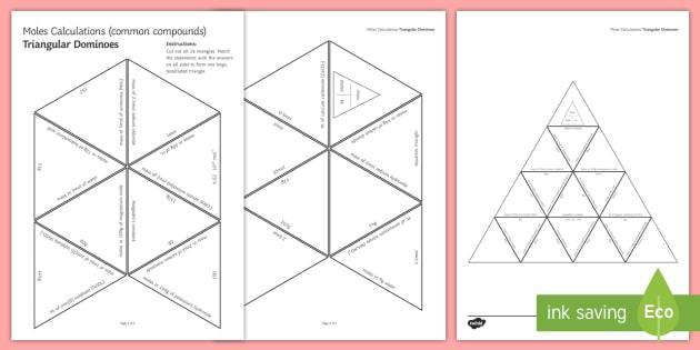 Moles Calculations Tarsia Triangular Dominoes - Tarsia, gcse, chemistry, moles, mol, mass, calculation, equation, molar mass, Mr, relative formula m, plenary activity