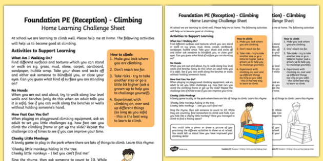 Foundation PE (Reception) - Climbing Home Learning Challenge Sheet - EYFS, PE, Physical Development, Planning