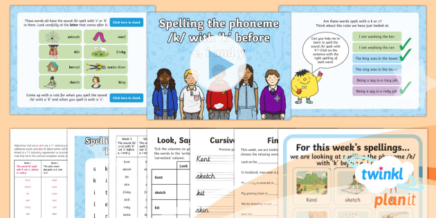 PlanIt Y1 Term 2B W1: ke, ki, ky Spelling Pack - Spellings Year 1, Term 2B, Week 1, k before e, i and y