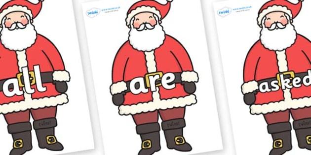 Tricky Words on Santa - Tricky words, DfES Letters and Sounds, Letters and sounds, display, words